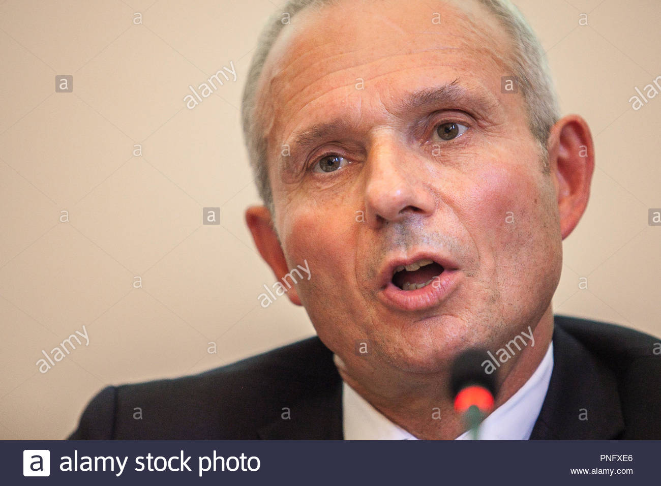 Siena, ITALY. 21 September, 2018.David Lidington, Vice Premier UK, speaks during the XXVI Putignano Conference, the conference is one of the most important annual events in the bilateral relationship between the United Kingdom and Italyon September 31, 2018 in Venice, Italy. © Mario Llorca/Awakening/Alamy Live News - Stock Image
