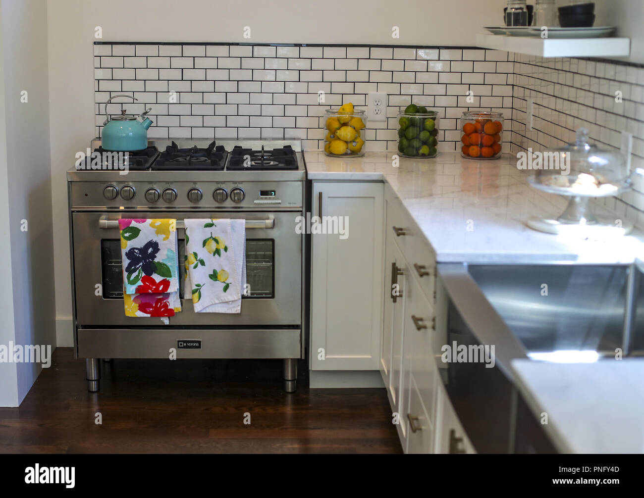 Davenport Iowa Usa 6th July 2018 Bottom Right White Is The Kitchen Color Choice With White Cabinets A White Subway Tile Backsplash White Paint And White Marble Countertops Friday July 6 2018