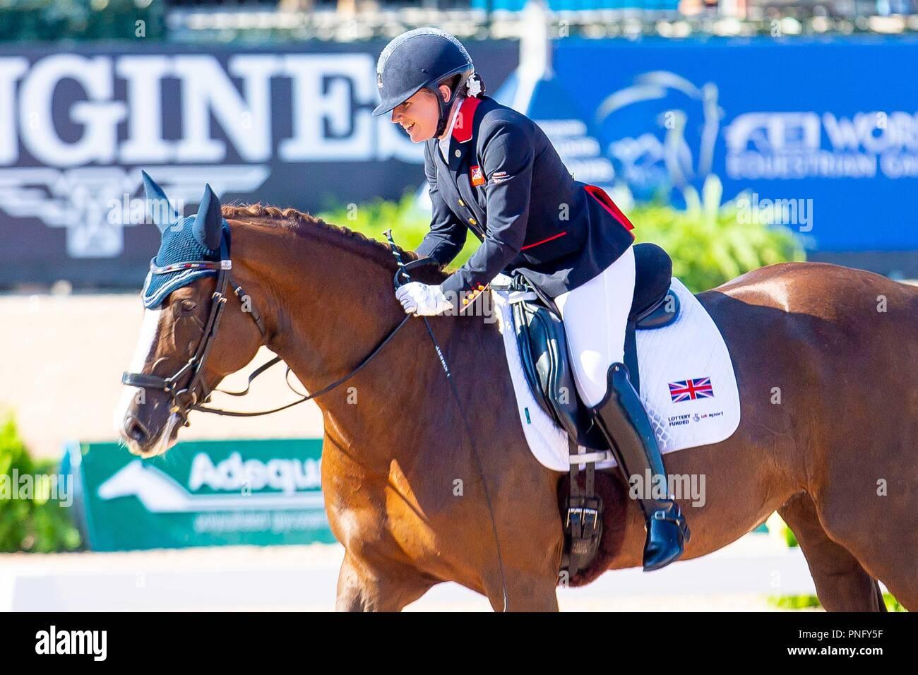 Winner. First Place. Natasha Baker riding Mount St John Diva Dannebrog. GBR. Team Test Grade lll.Para Dressage. Day 10. World Equestrian Games. WEG 2018 Tryon. North Carolina. USA. 21/09/2018. - Stock Image