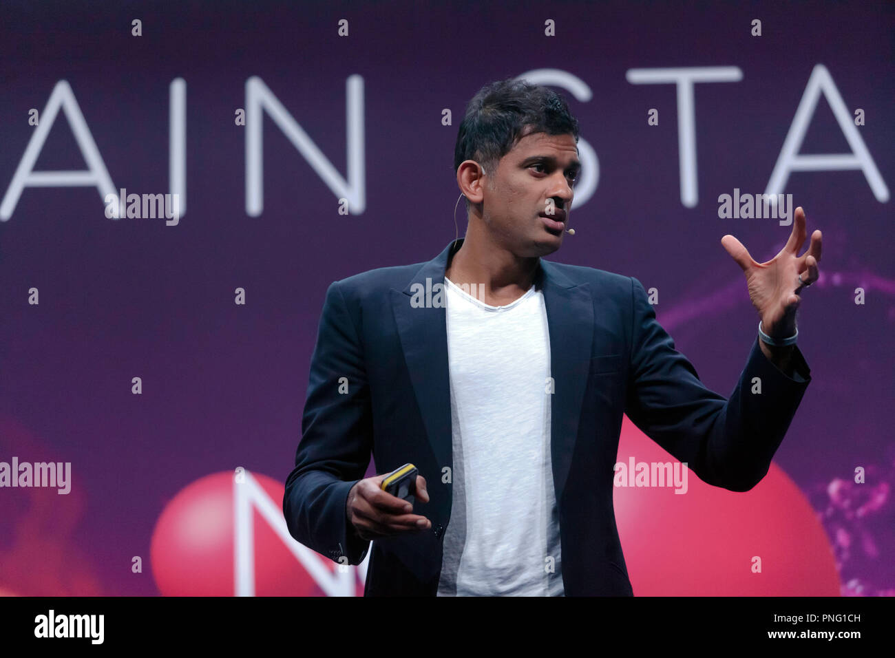 Doctor and TV presenter Rangan Chatterjee  explains how small, easily achievable lifestyle changes can help you get healthy and stay that way, on the main stage at New Scientist Live - Stock Image