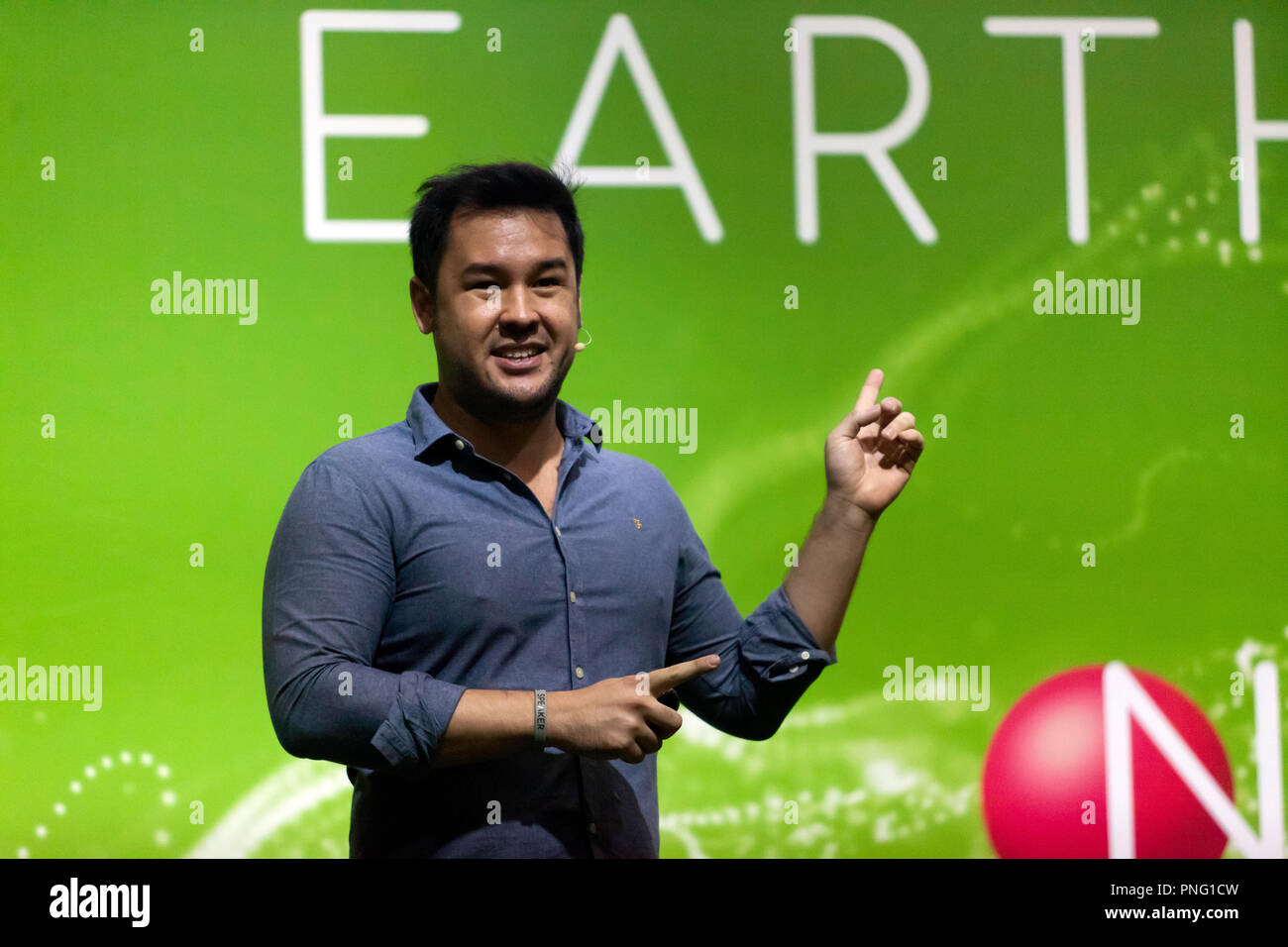 Broadcaster and Botanist James Wong talking about how we can buy, store and cook food, to turn any item into a superfood, on the Earth Stage, at New Scientist Live - Stock Image