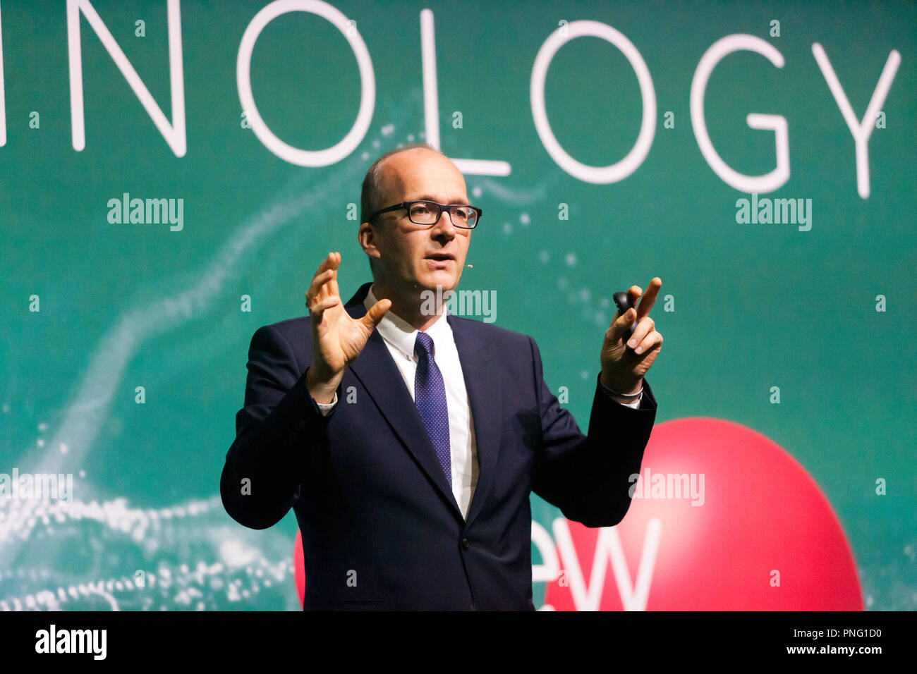 Physicist Kai Bongs talking about how Quantum Sensors can improve our lives, on the Technology Stage, at New Scientist Live Credit: John Gaffen/Alamy Live News - Stock Image