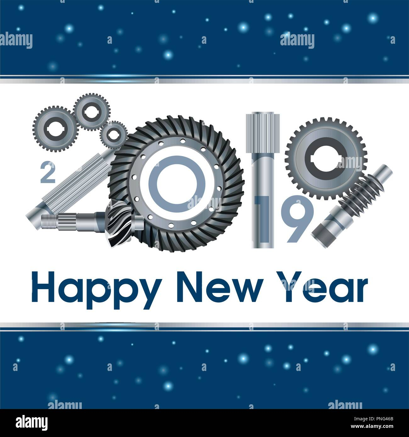 2019 years anniversary industry gear - illustration. New Year s greetings. Poster, banner. - Stock Vector