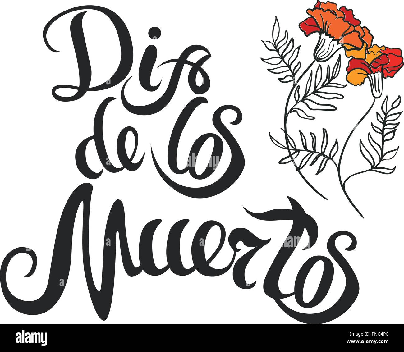 dia de muertos hand drawing lettering and marigold for day of PNG4PC
