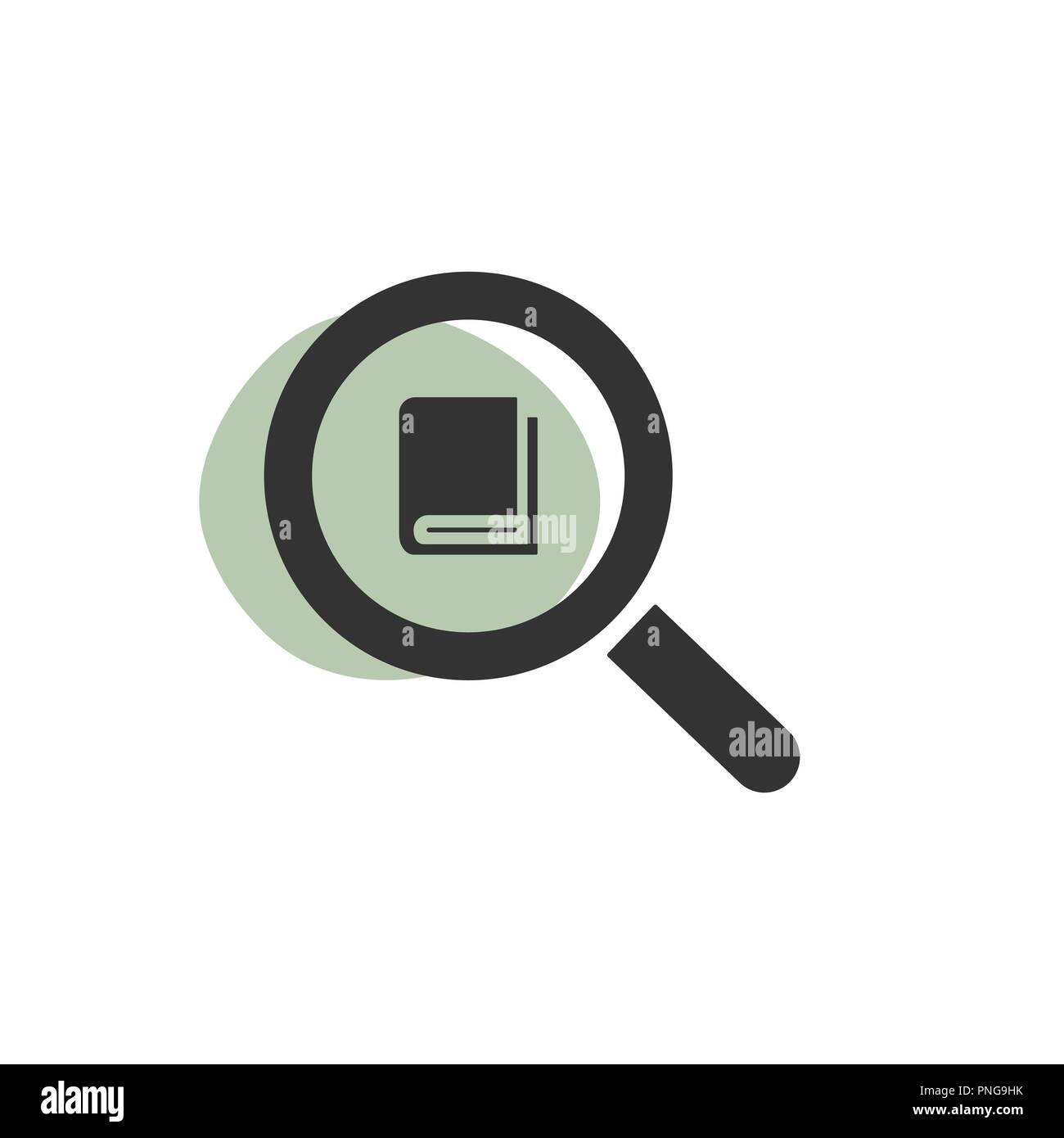 Magnifying glass looking for a book isolated web icon. Vector illustration Stock Vector