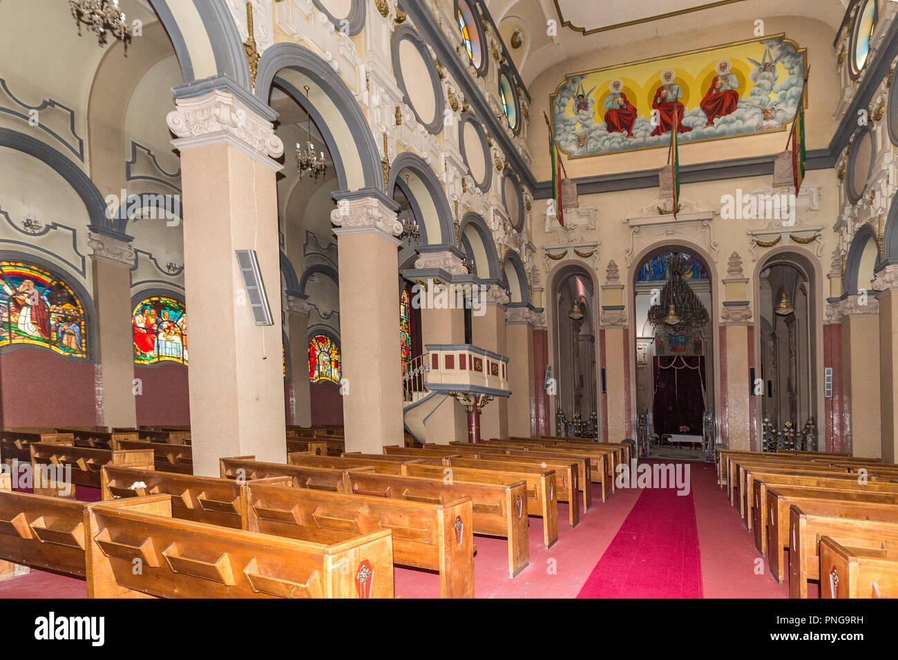 Interior, Holy Trinity Cathedral, known in Amharic as Kidist Selassie, Ethiopian Orthodox Tewahedo Church, resting place for  Emperor Haile Selassie + - Stock Image