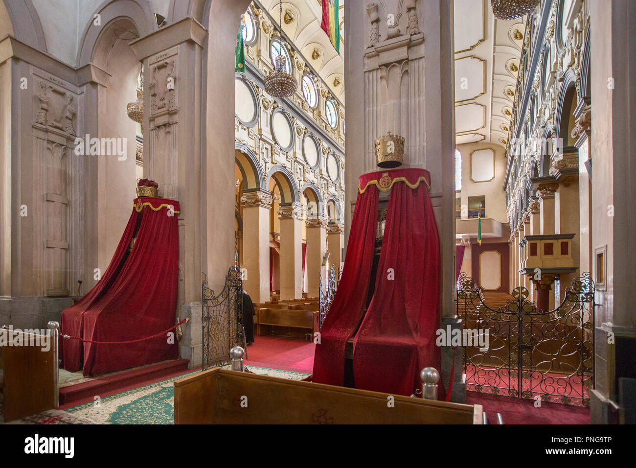 Interior, Holy Trinity Cathedral, known in Amharic as Kidist Selassie, Ethiopian Orthodox Tewahedo Church, resting place for  Emperor Haile Selassie - Stock Image