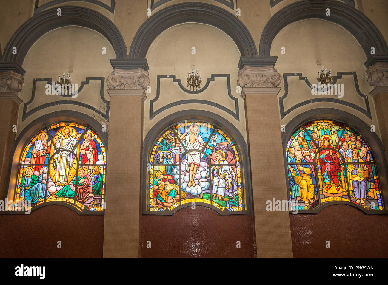 Stained-glass windows, Holy Trinity Cathedral, (Amharic: Kidist Selassie) Ethiopian Orthodox Tewahedo Church, resting place of Emperor Haile Selassie - Stock Image