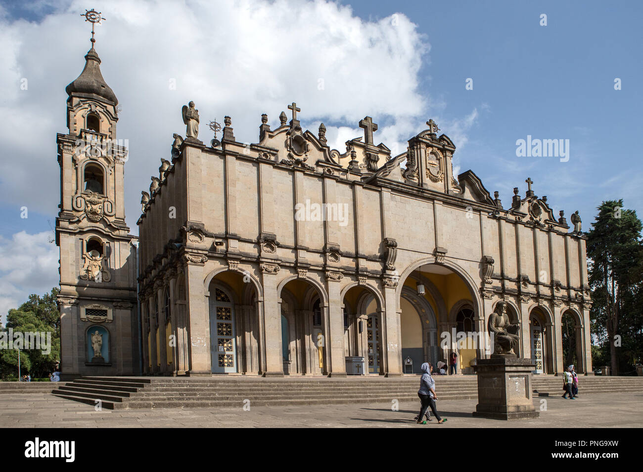 Holy Trinity Cathedral, aka in Amharic as Kidist Selassie, Ethiopian Orthodox Tewahedo Church, resting place for  Emperor Haile Selassie + family - Stock Image