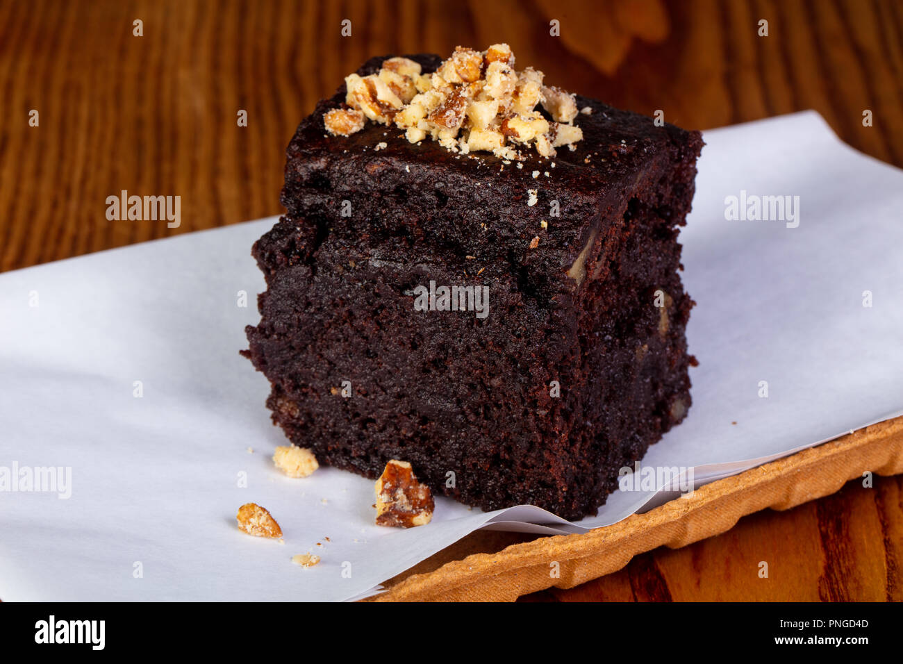 Tasty Brownie cake with nuts Stock Photo