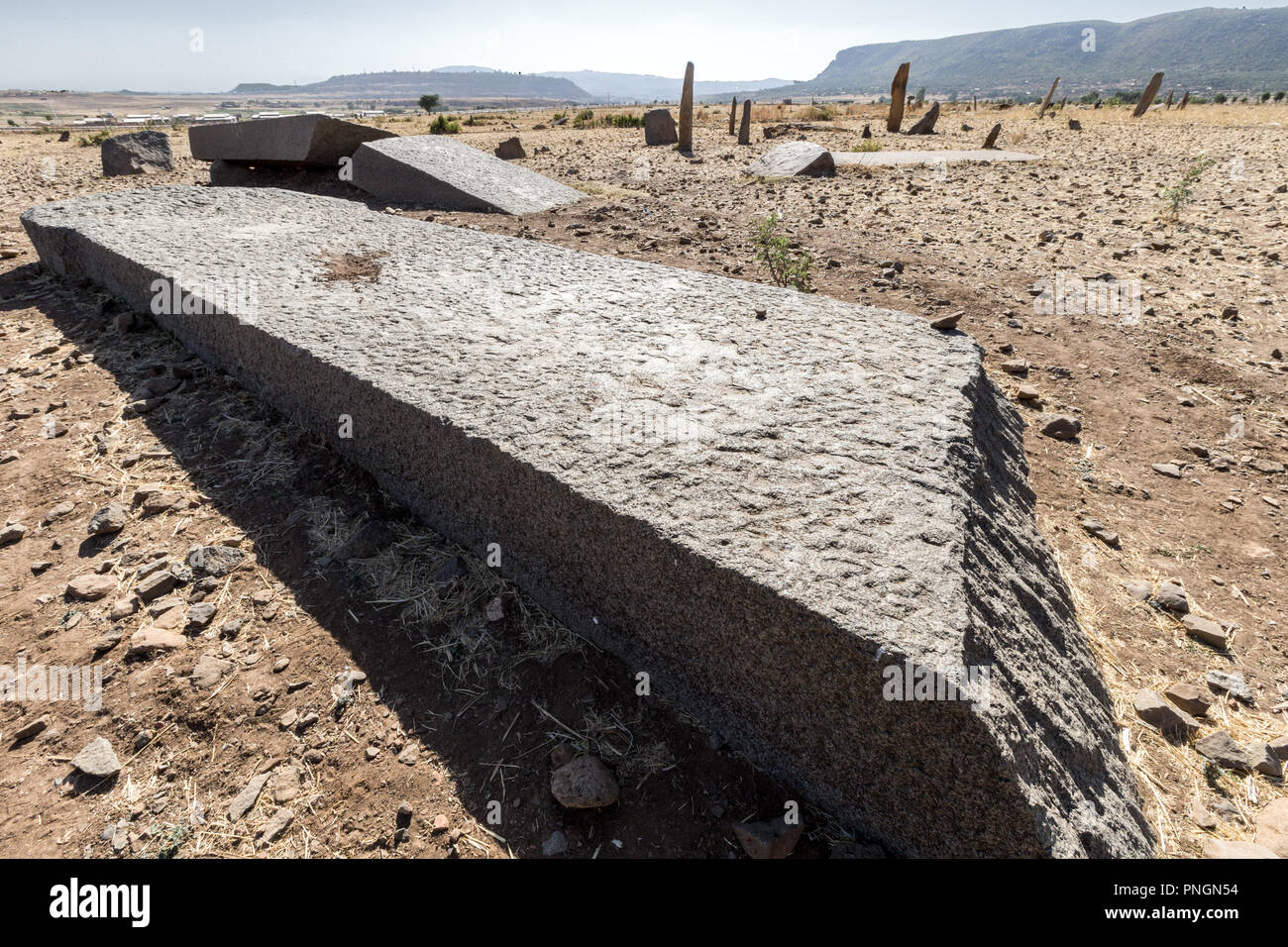 Gudit (Gudit (Judith, Esato, or Ga'wa) aka Yodit Stelae Field, Axum, Ethiopia. Thought to be resting place of lower ranked officials or others - Stock Image