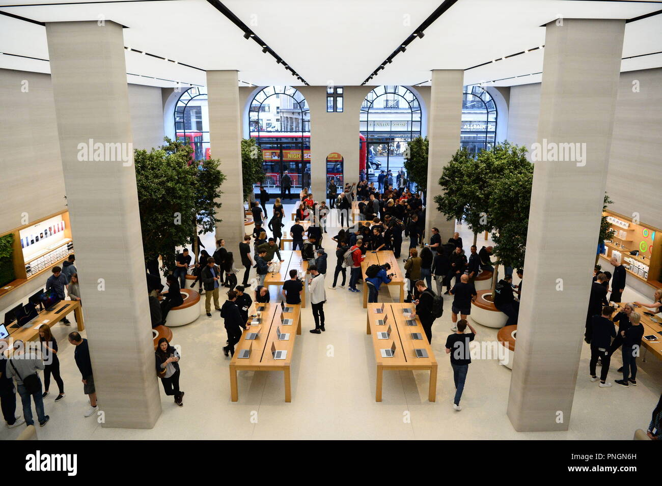 The Apple Store in Regent Street, central London, as the iPhone XS and XS Max go on sale in the UK for the first time, alongside the Apple Watch Series 4. - Stock Image