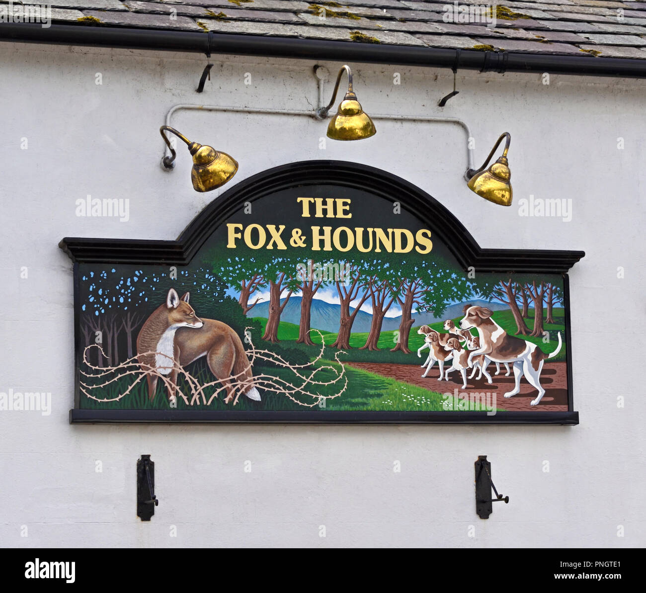 Inn sign, The Fox and Hounds. Ennerdale Bridge, Lake District National Park, Cumbria, England, United Kingdom, Europe. Stock Photo