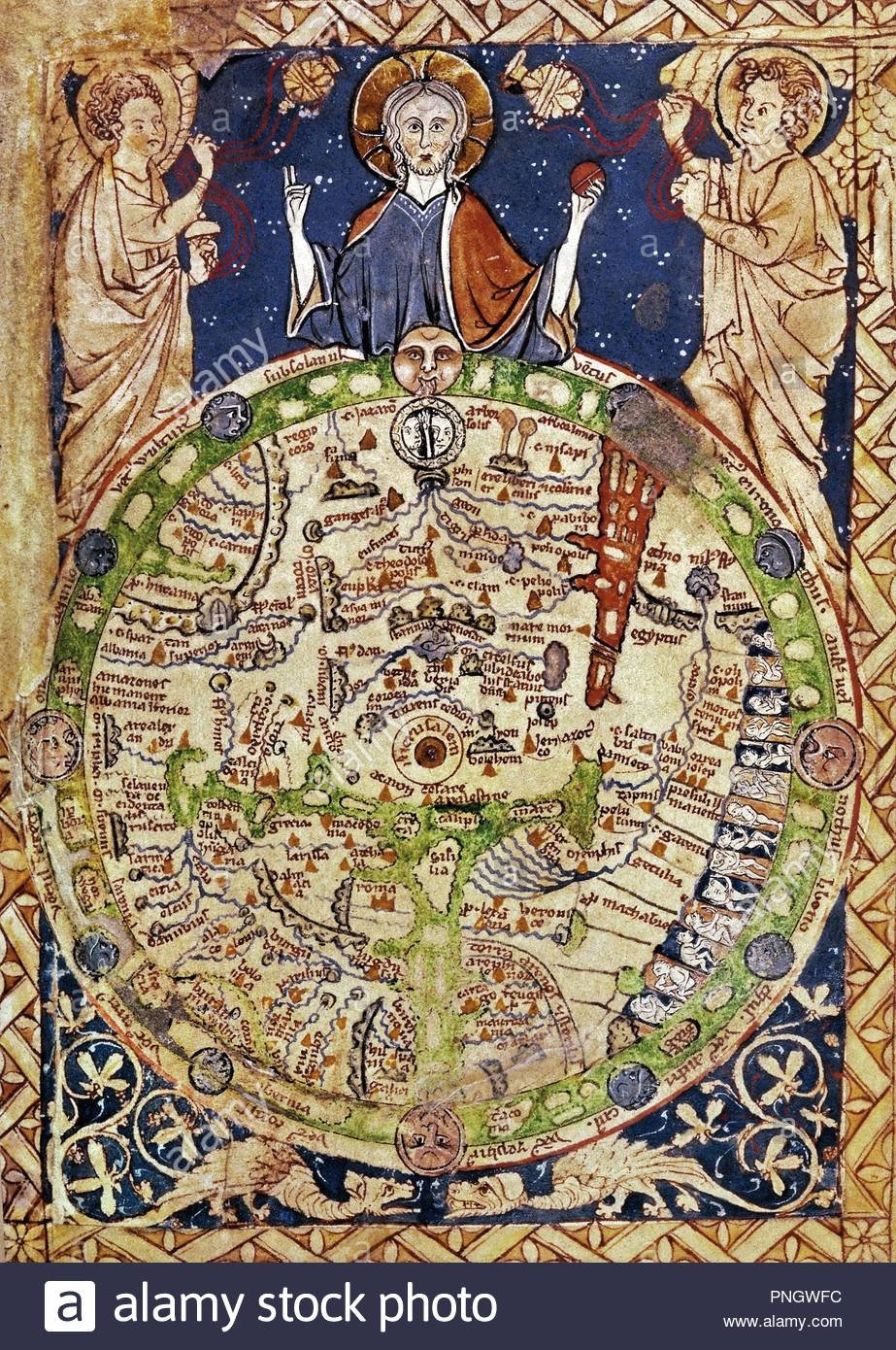 Jerusalem Center Of The World Map.Psalter Map Around 1250 Jerusalem In The Center Surrounded By A