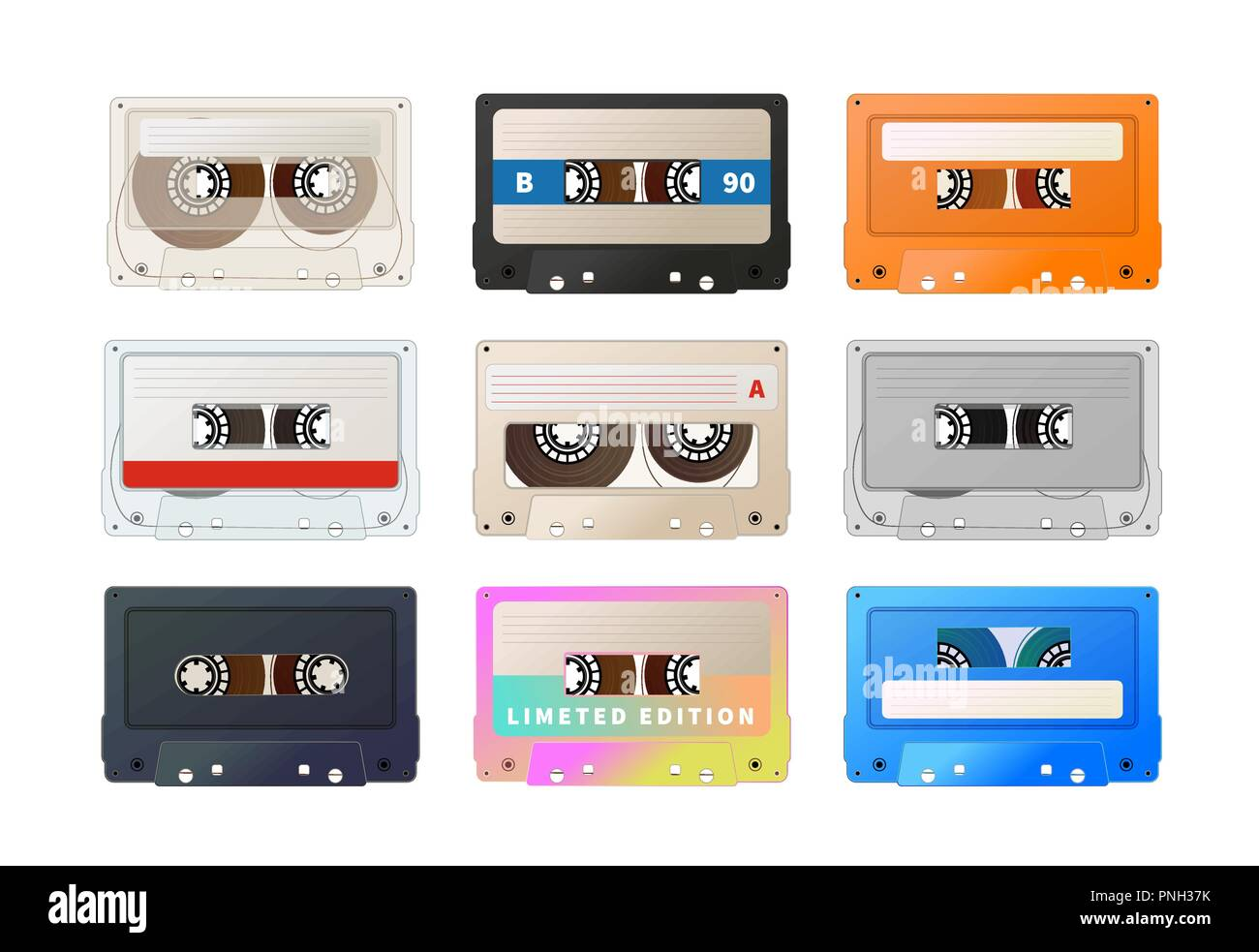 Detailed audio cassette, vintage tape on white - Stock Vector