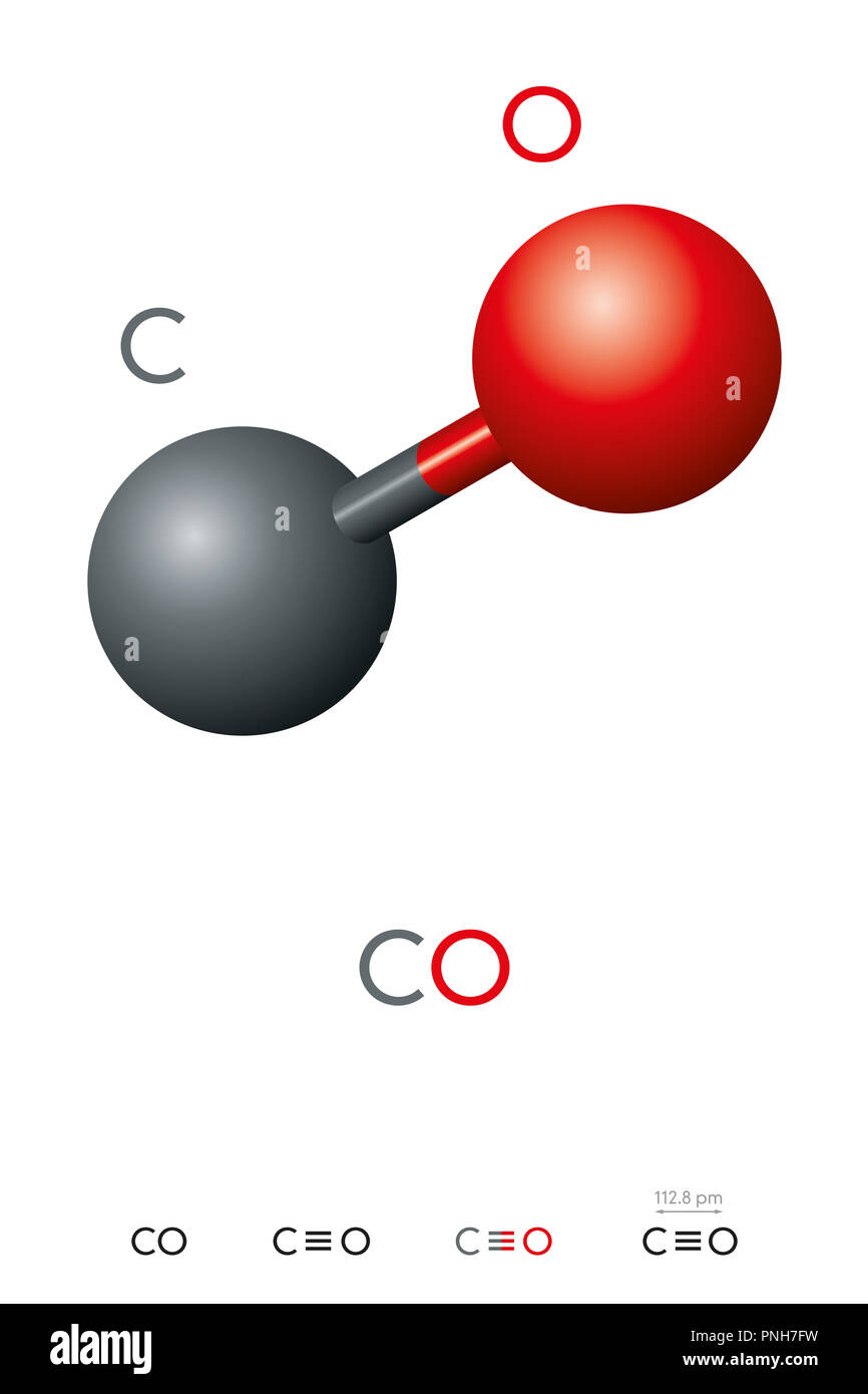 Carbon monoxide, CO, molecule model and chemical formula. Toxic gas and less dense than air. Ball-and-stick model, geometric structure and formula. - Stock Image