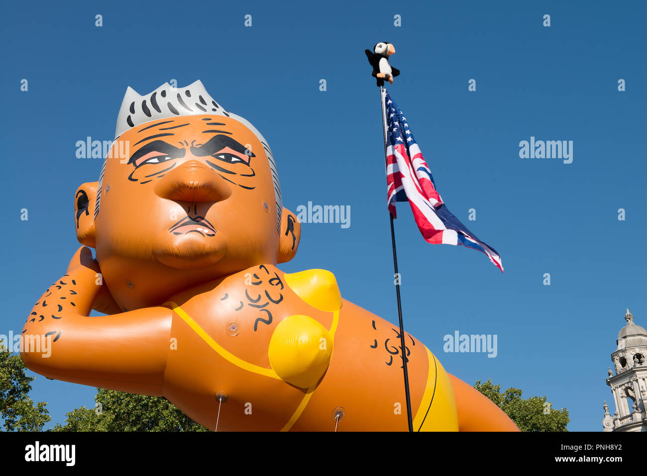 Campaign organised by Yanny Bruere to oust Sadiq Khan as Mayor of London, by using a giant bikini-clad balloon of Mr.Khan, to make London safer again. - Stock Image