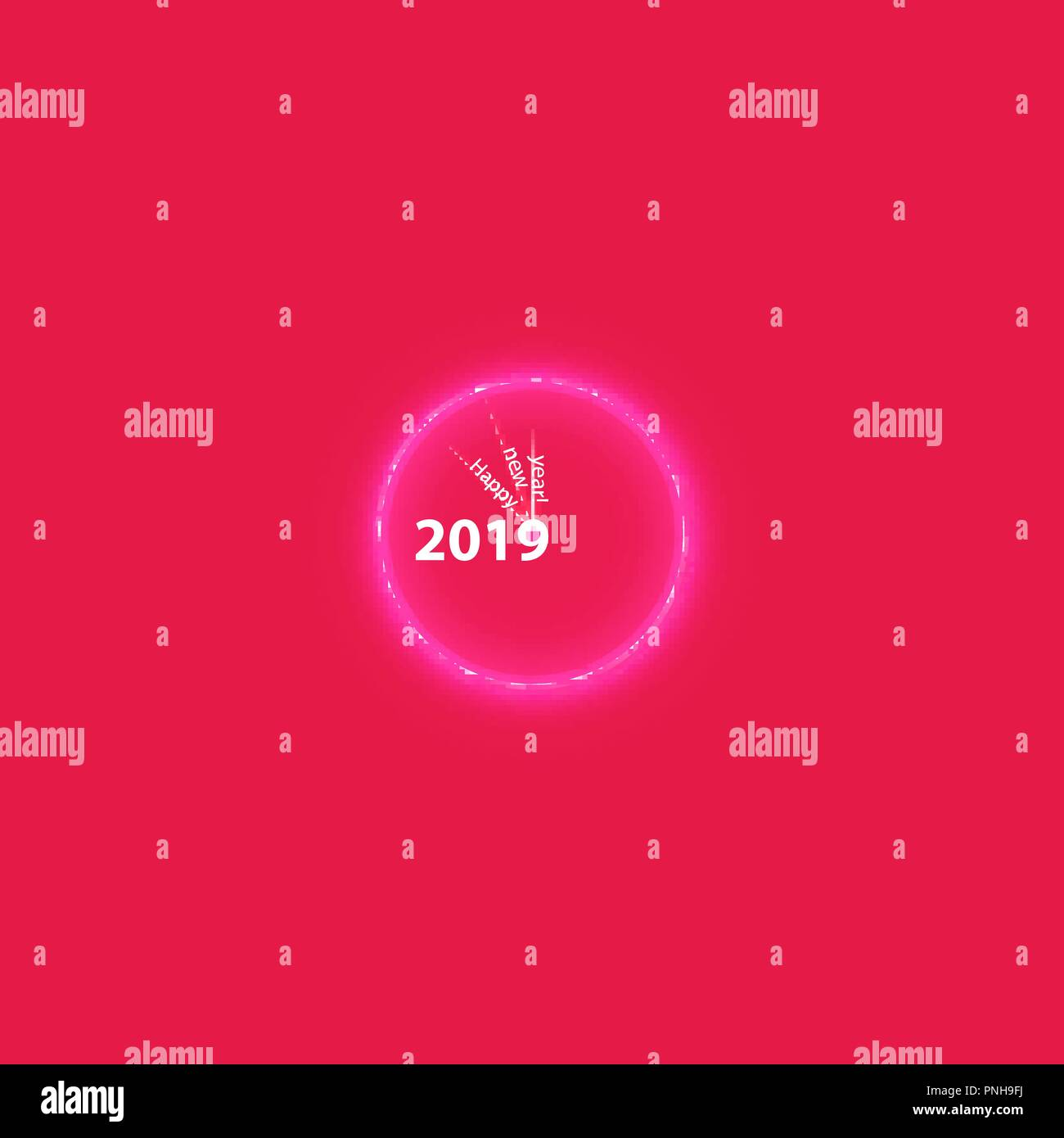 christmas party poster with a glowing magical clock happy 2019 new year flyer greeting card invitation menu design template vector illustration boxes