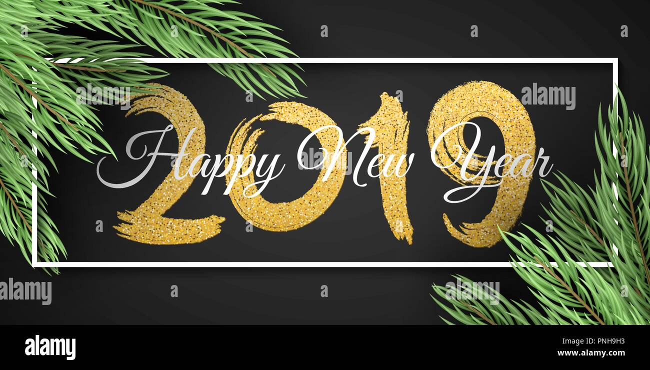 happy new year 2019 white frame christmas tree web banner for your advertising design vector illustration eps 10