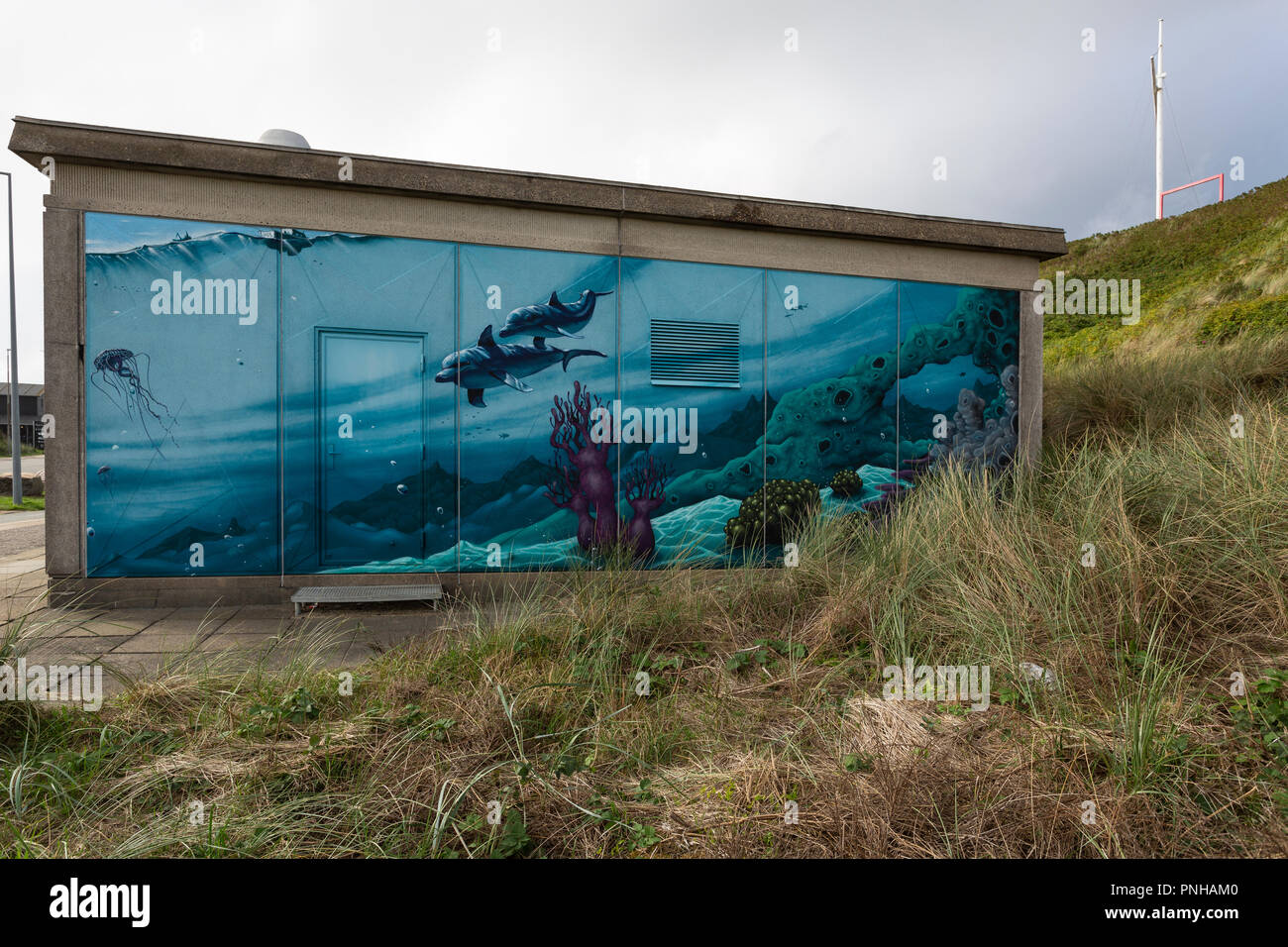 Street Art artists have decorated buildings and walls with grafitti art in Hvide Sande, Denmark. Street Art Künstler haben in Hvide Sande, Dänemark, G - Stock Image
