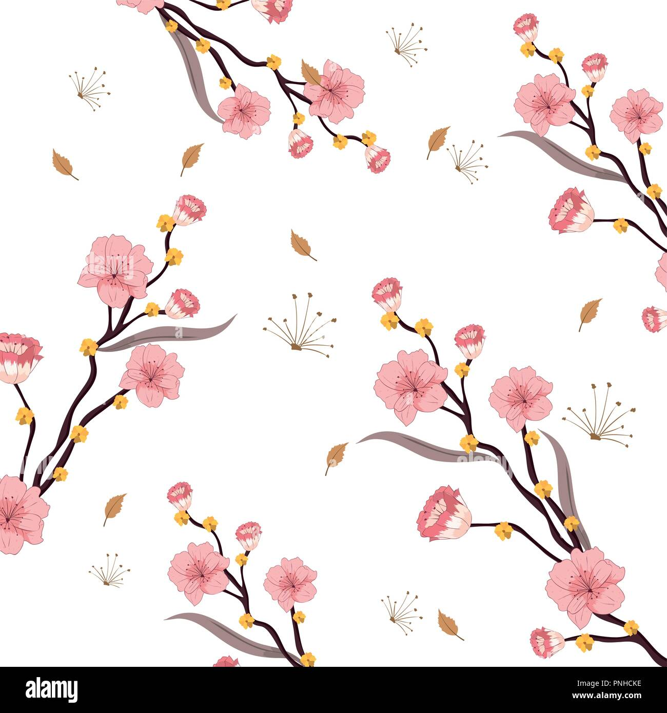 nature rustic flowers with branches leaves - Stock Image