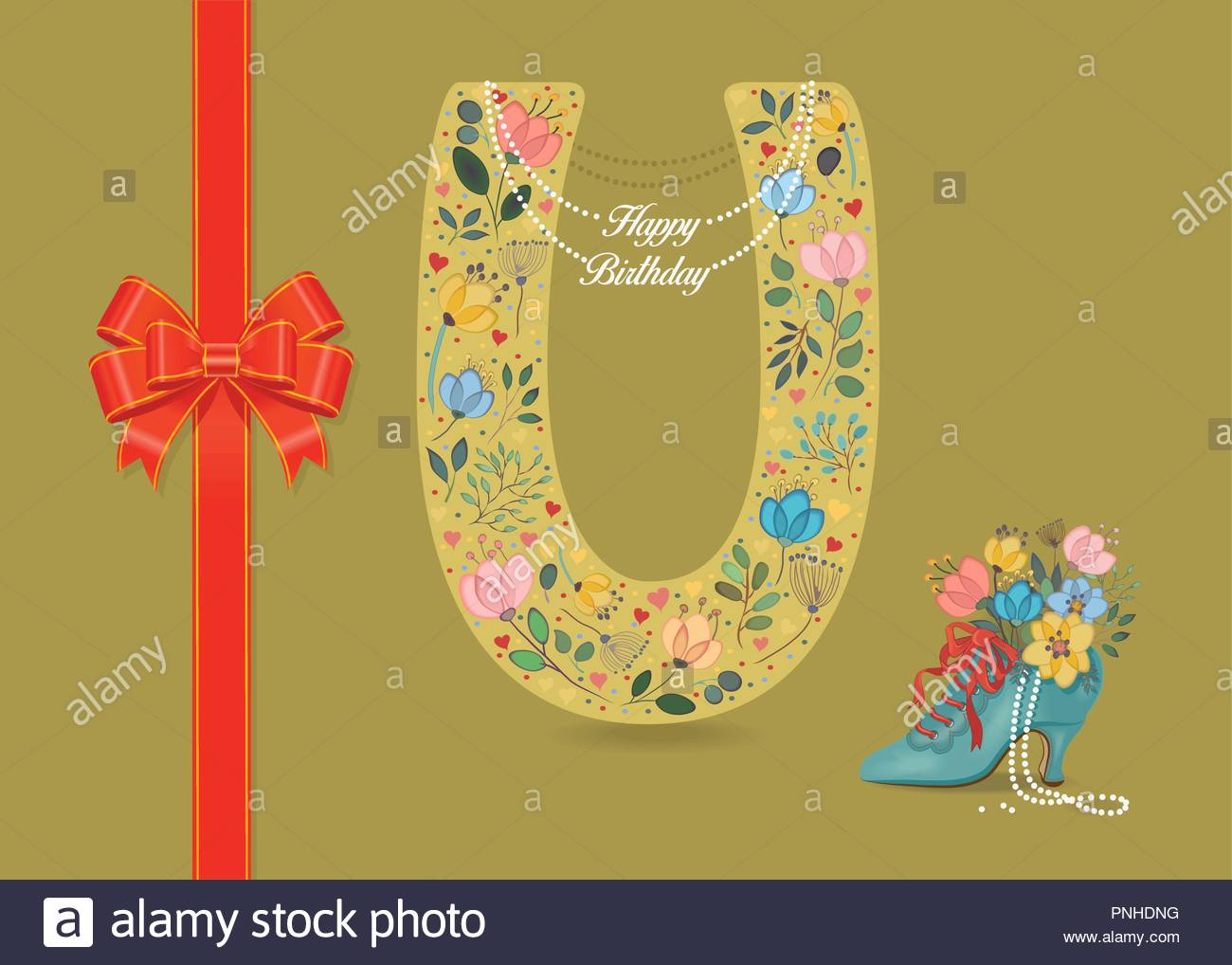 Artistic Letter U With Folk Botanical Decor Watercolor Flowers And