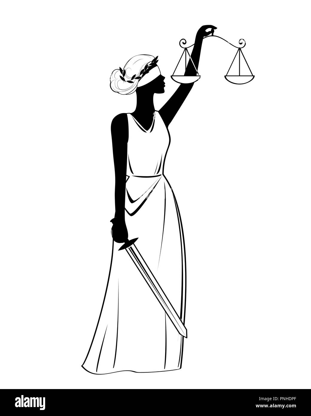 Justice goddess statue icon, vector illustration, black sign on isolated background - Stock Vector