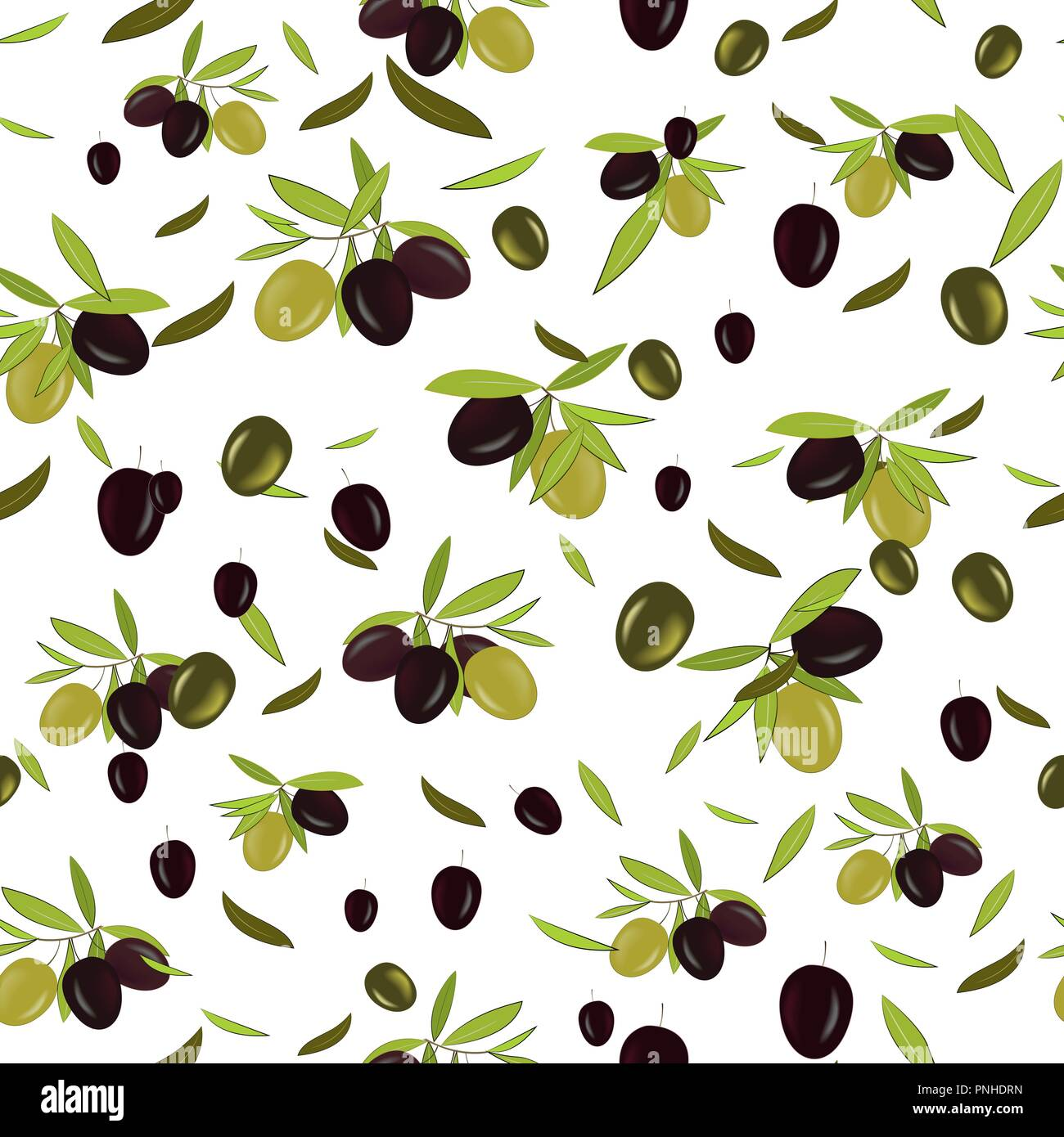 Olive branch seamless pattern, olive background. Mediterranean food wallpaper. Illustration for wrapping, wallpaper or print. Vector - Stock Vector