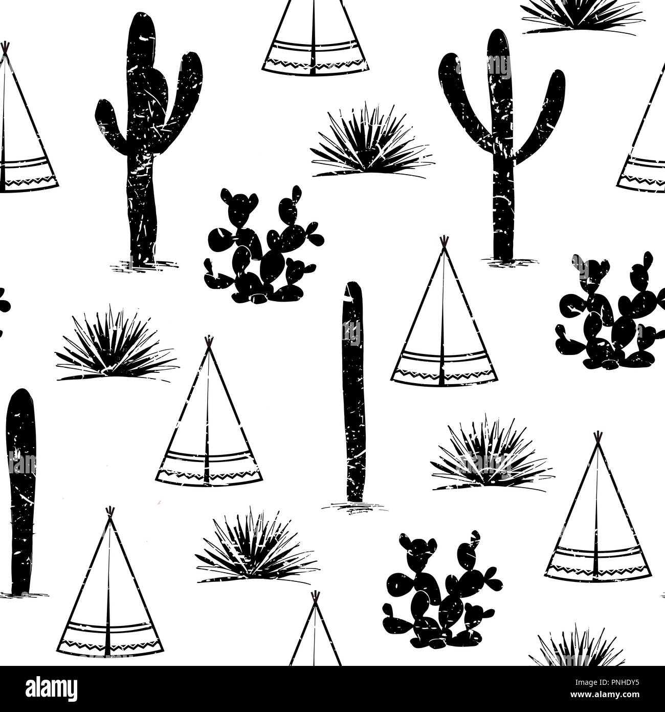 Indian tribal background. Simple flat wigwam, cactus, and grass. Seamless pattern landscape. Minimalist design. Cartoon illustration, vector, black an - Stock Vector