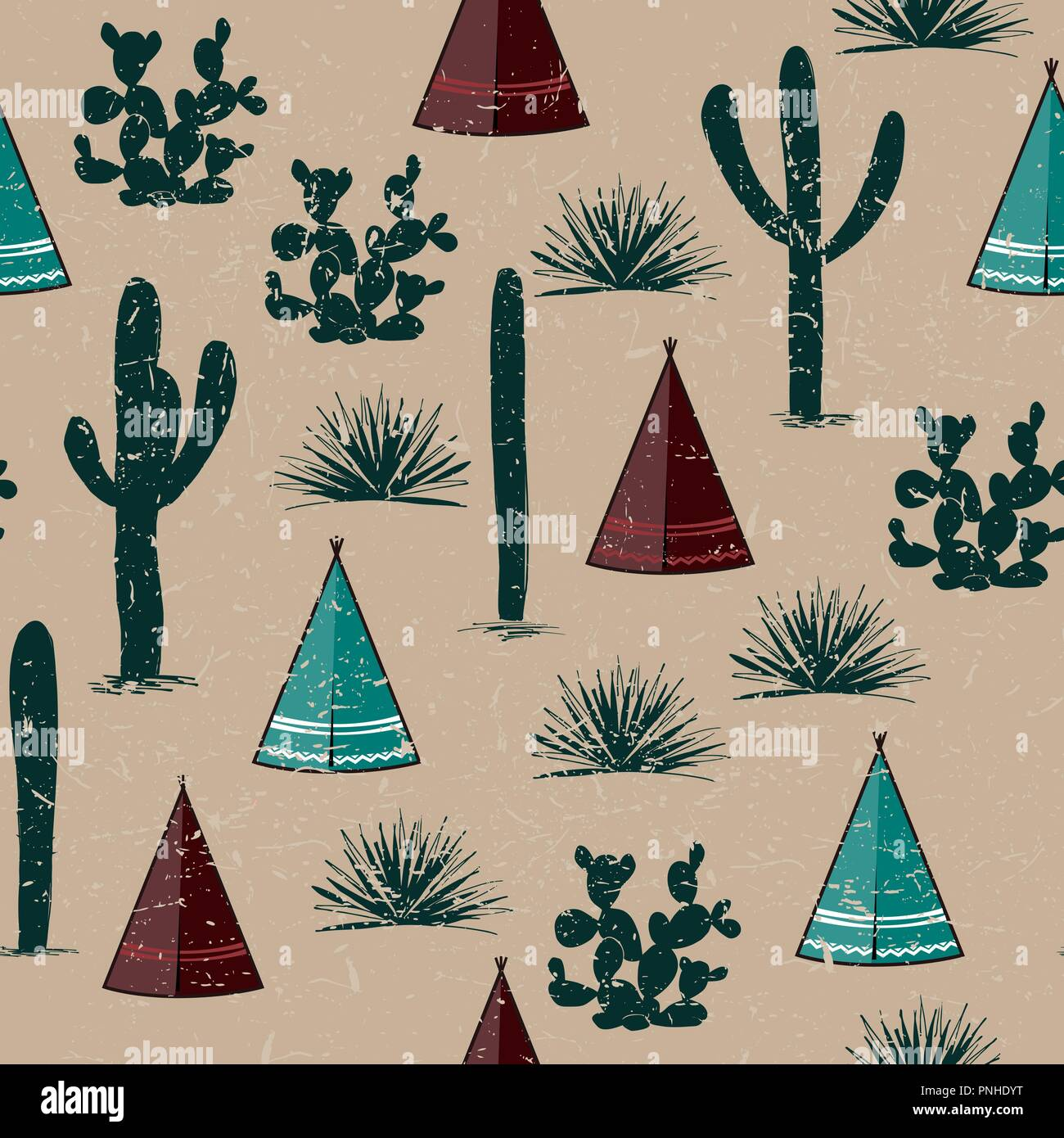 Indian tribal background. Simple flat wigwam, cactus, and grass. Seamless pattern landscape. Minimalist design. Cartoon illustration, vector - Stock Vector
