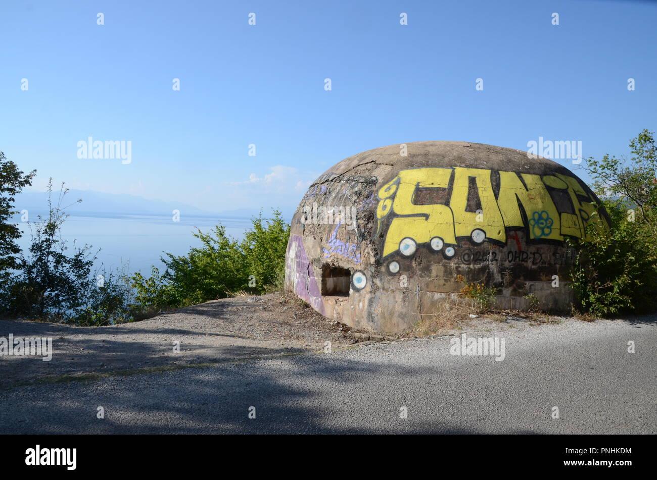 abandoned military bunker on the border of albania and macedonia lake ohrid - Stock Image