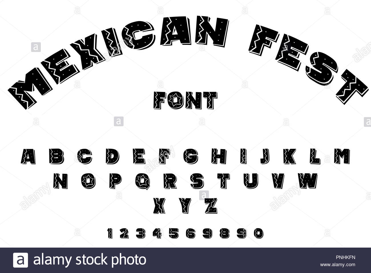 mexican fest font - Stock Image