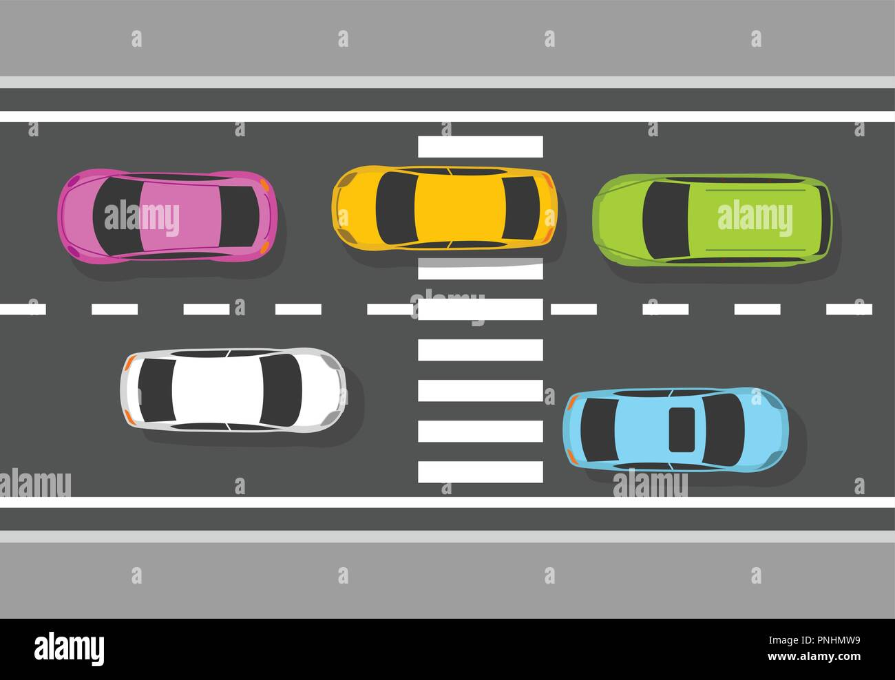 Top view of cars on road - traffic on highway, view from above - Stock Image