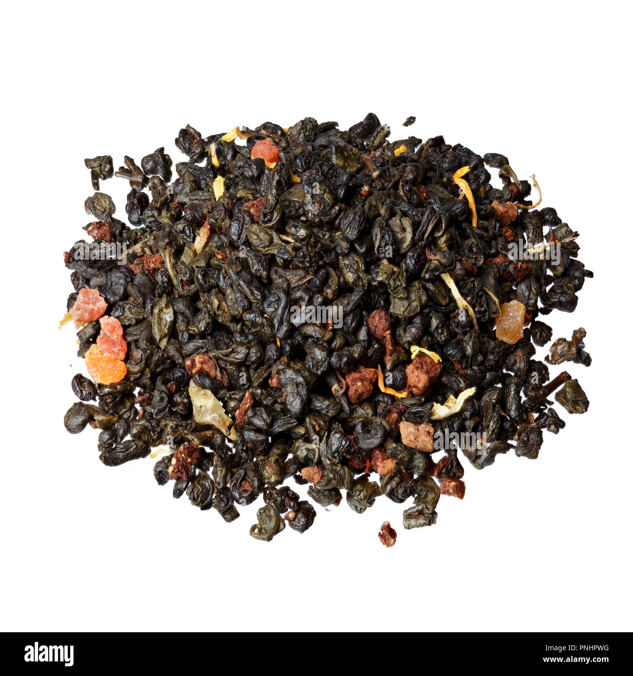 The composition of green tea gunpowder tea with slices. - Stock Image
