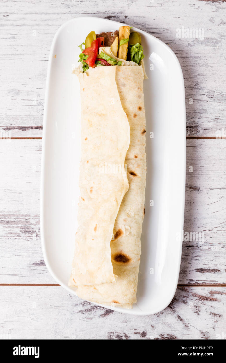 Lavash Wrap Chicken Kebab Served In Turkish Flat Bread Stock Photo Alamy