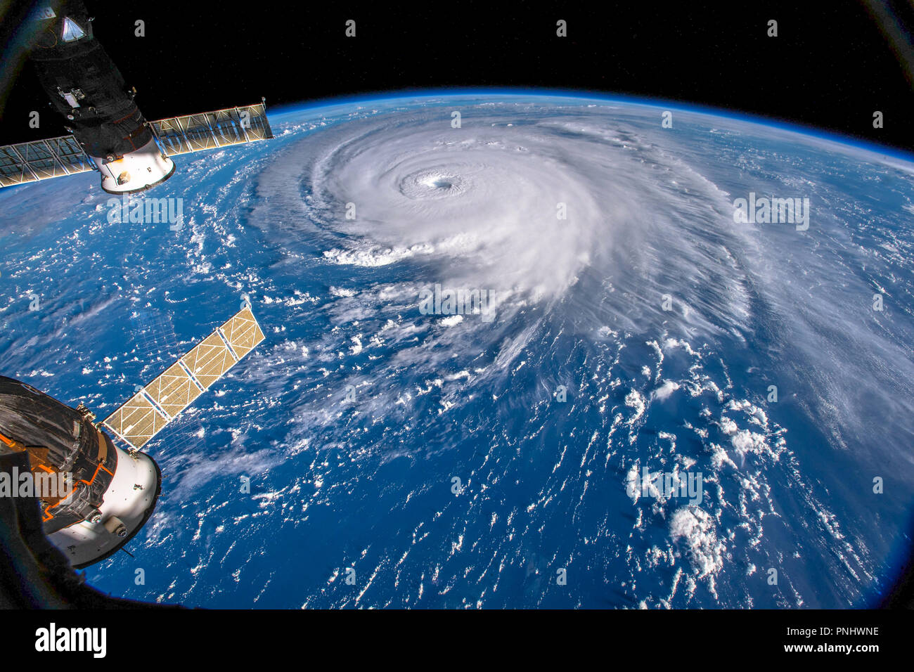 Hurricane Florence seen from space by the ISS ( International Space Station). This image is a NASA handout. - Stock Image