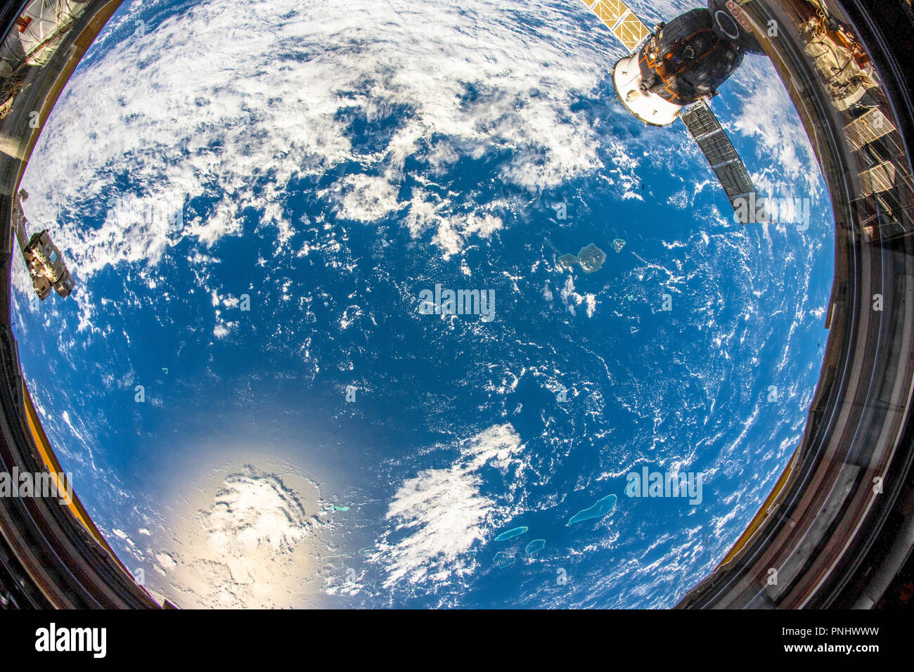 Beautiful planet Earth seen from space. Contrasting blue and yellow over the surface. This image is a NASA handout - Stock Image
