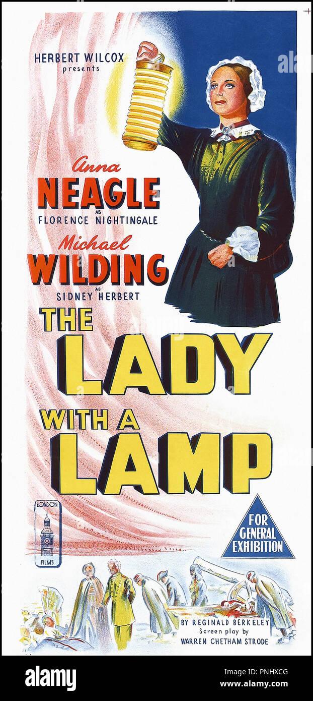 Prod DB © Herbert Wilcox Prod-Imperadio / DR THE LADY WITH A LAMP (THE LADY WITH THE LAMP) de Herbert Wilcox 1951 GB affiche originale Australienne daybill d'apres la piece de Reginald Berkeley biographie de Florence Nightingale - Stock Image