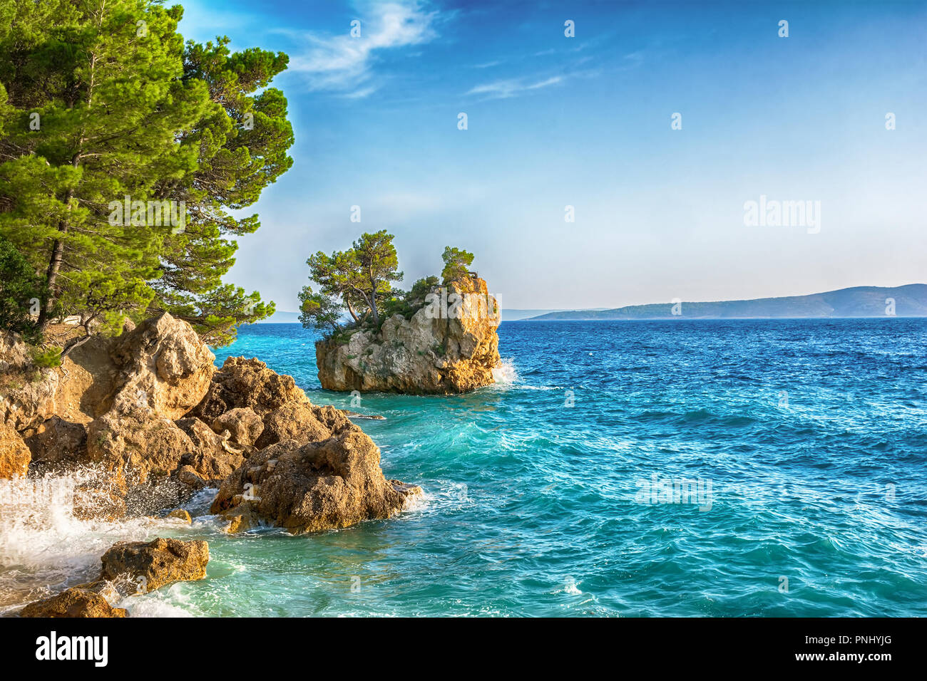 Beautiful Punta Rata beach in Brela, Makarska Riviera, Dalmatia, Croatia. Travel resort background. Summer vacatioan. Copy space. Stock Photo