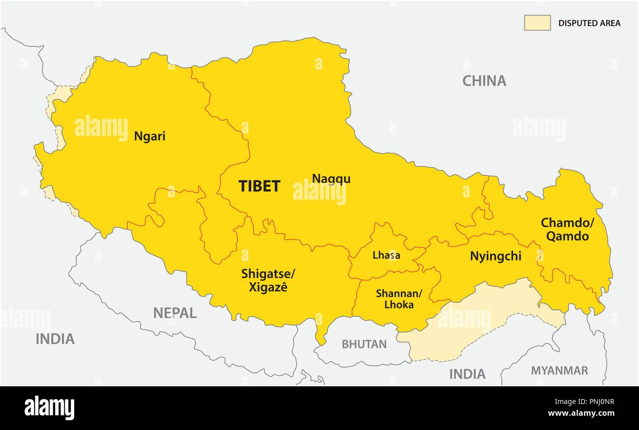 tibet administrative and political vector map with disputed border areas. - Stock Vector