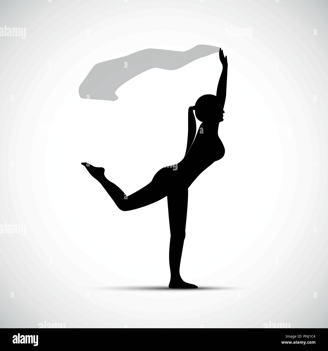 girl performs yoga pose silhouette vector illustration EPS10 - Stock Vector