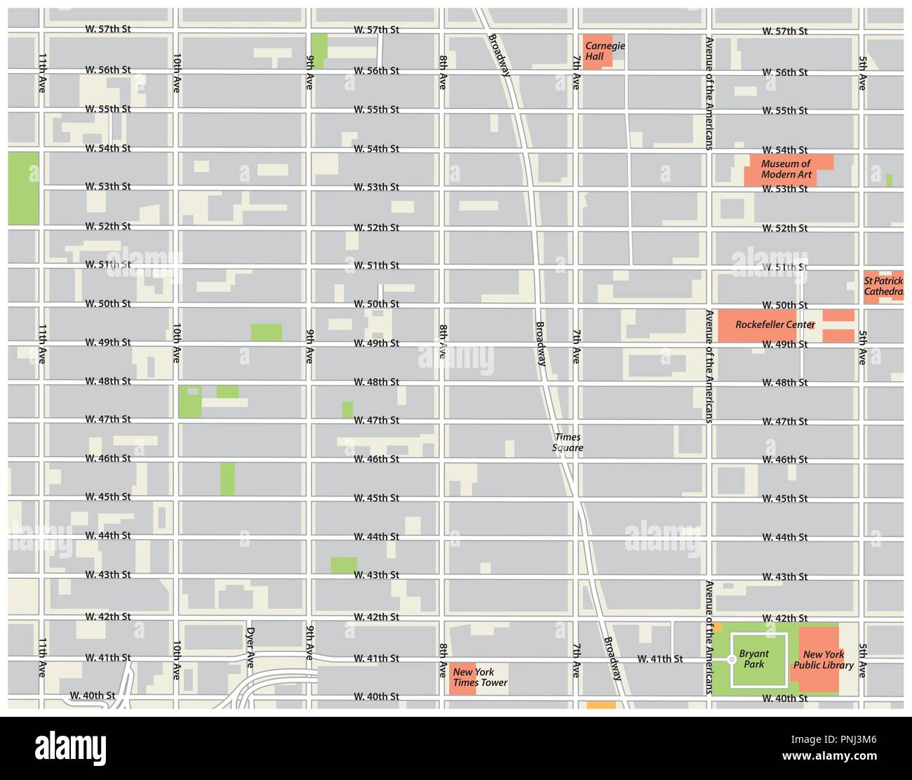 new york city, theater district, midtown manhattan vector map. - Stock Vector