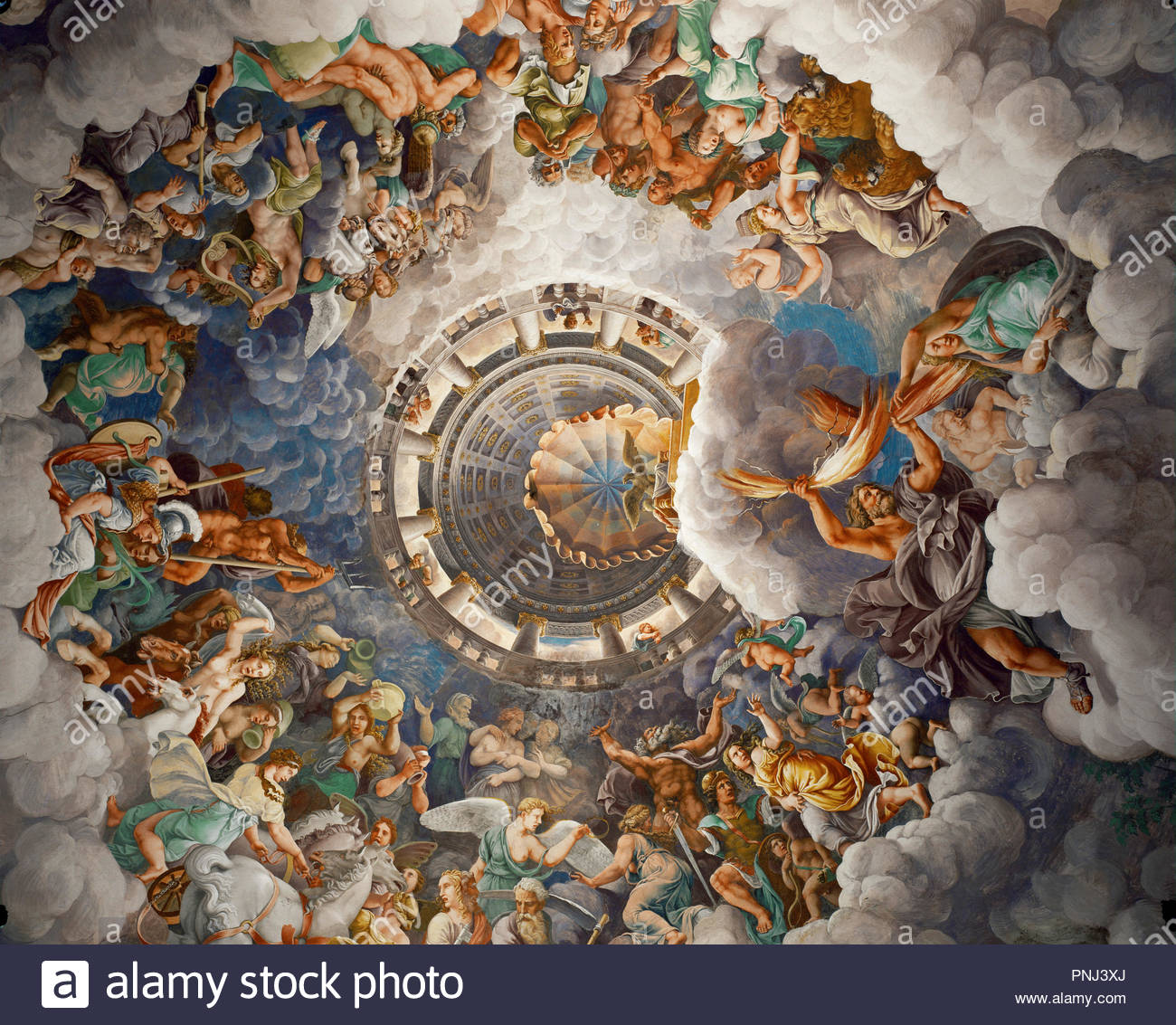Olympus, seat of the Gods. Fresco (ca. 1532-1534). Author: ROMANO, GIULIO. Location: Palazzo del Te, Mantova, Italy. - Stock Image
