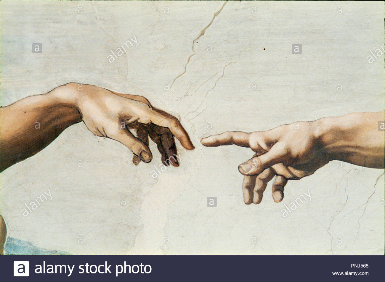 0ec6165b2301 The Sistine Chapel  ceiling frescos after restoration. The creation of Adam.  Author  Michelangelo. Location  Sistine Chapel