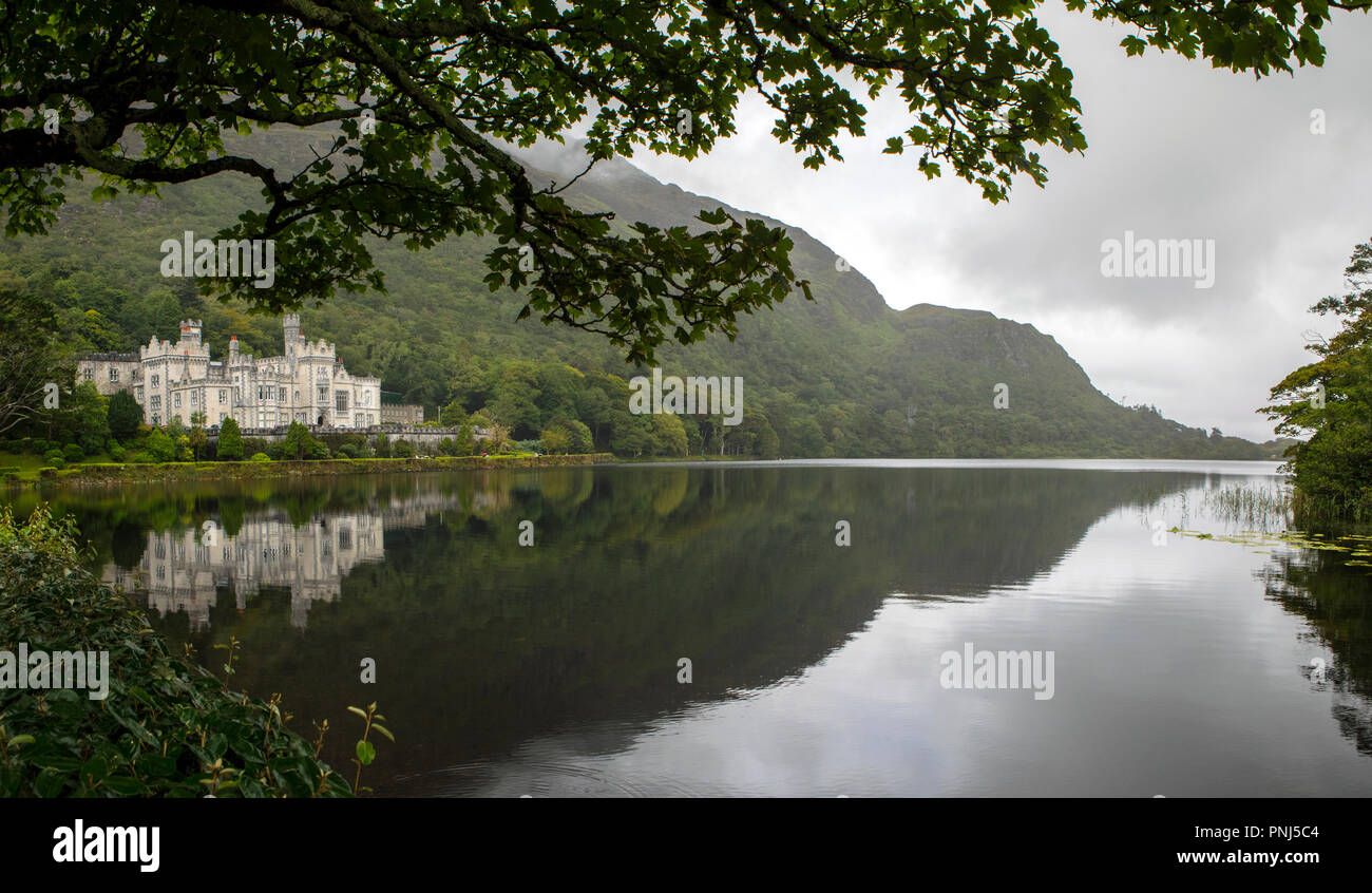County Galway, Ireland - August 20th 2018: A panoramic view of the magnificent Kylemore Abbey - the Benedictine monastery in Connemara, County Galway, Stock Photo