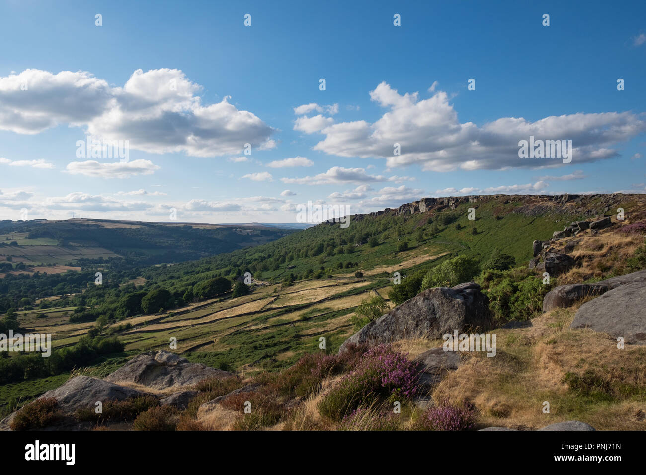Curbar Edge in the UK Peak District - Stock Image