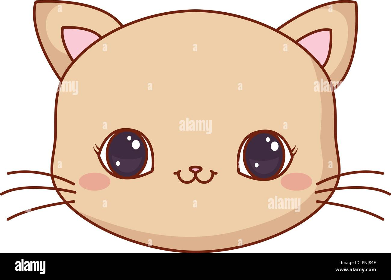 Cute Face Kitty Cartoon Animal Vector Illustration Stock Vector