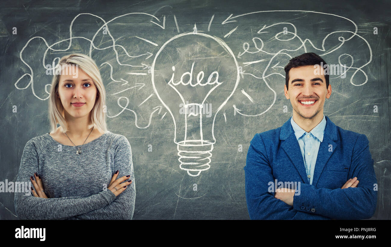 Man and woman have the same common idea, sharing thoughts together as arrow forming a big light bulb. Employee approach exchange, business relationshi - Stock Image