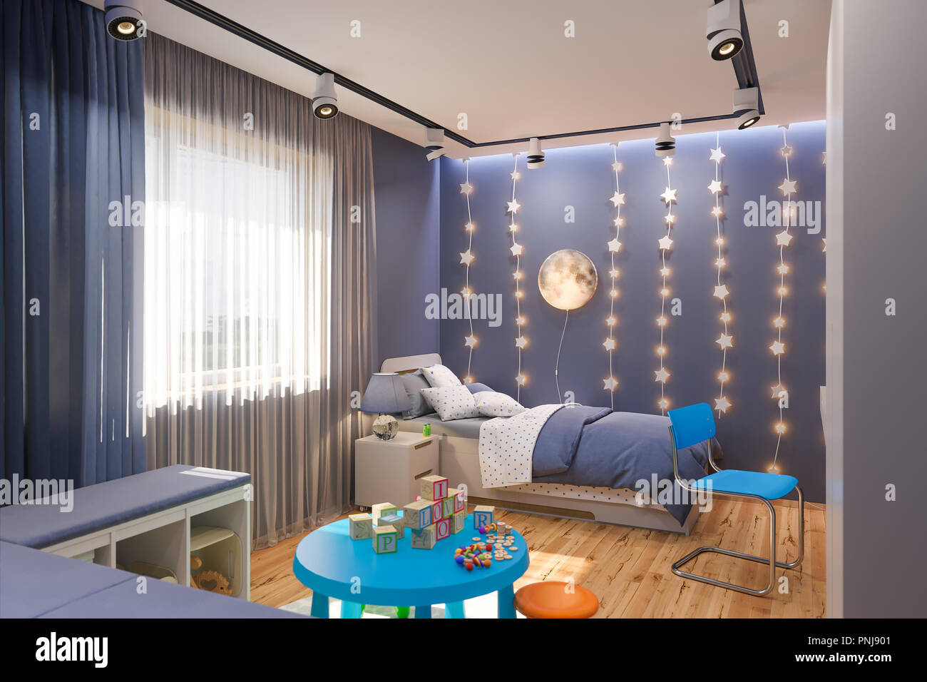 3d Render Of The Childrenu0027s Bedroom In Deep Blue Color. Visualization Of  The Concept Of Interior Design Kids Room For Boy In A Space Theme.