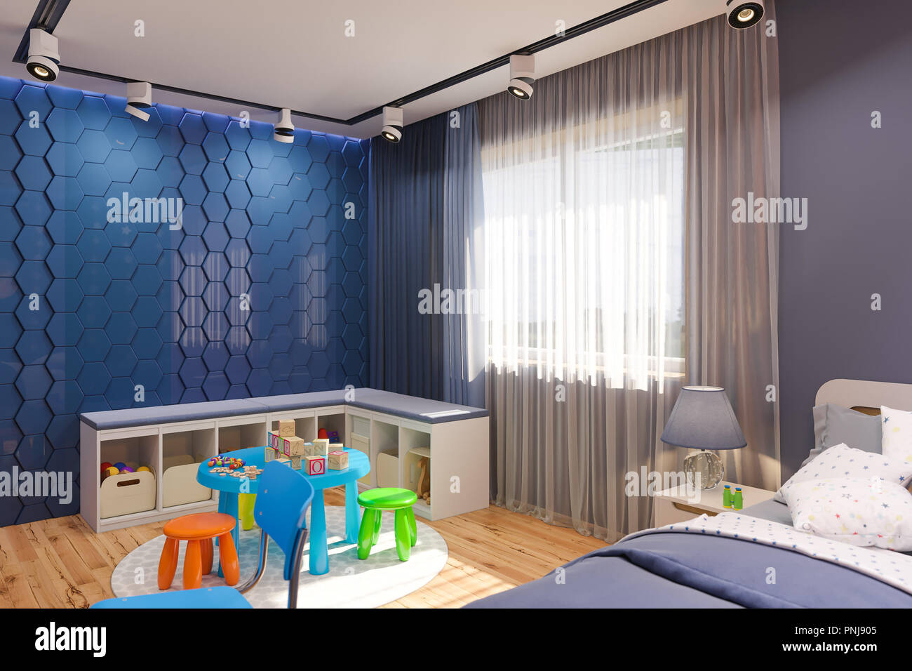 3d Render Of The Children S Bedroom In Deep Blue Color Visualization Of The Concept Of Interior Design Kids Room For Boy In A Space Theme Stock Photo Alamy